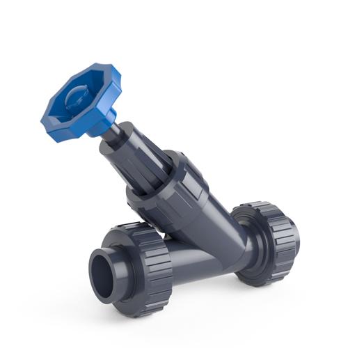 Angle seat valve, solvent socket outlet