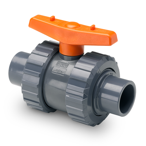 BIDIRECTIONAL BALL VALVE MALE SOLVENT SOCKET OUTLET PTFE