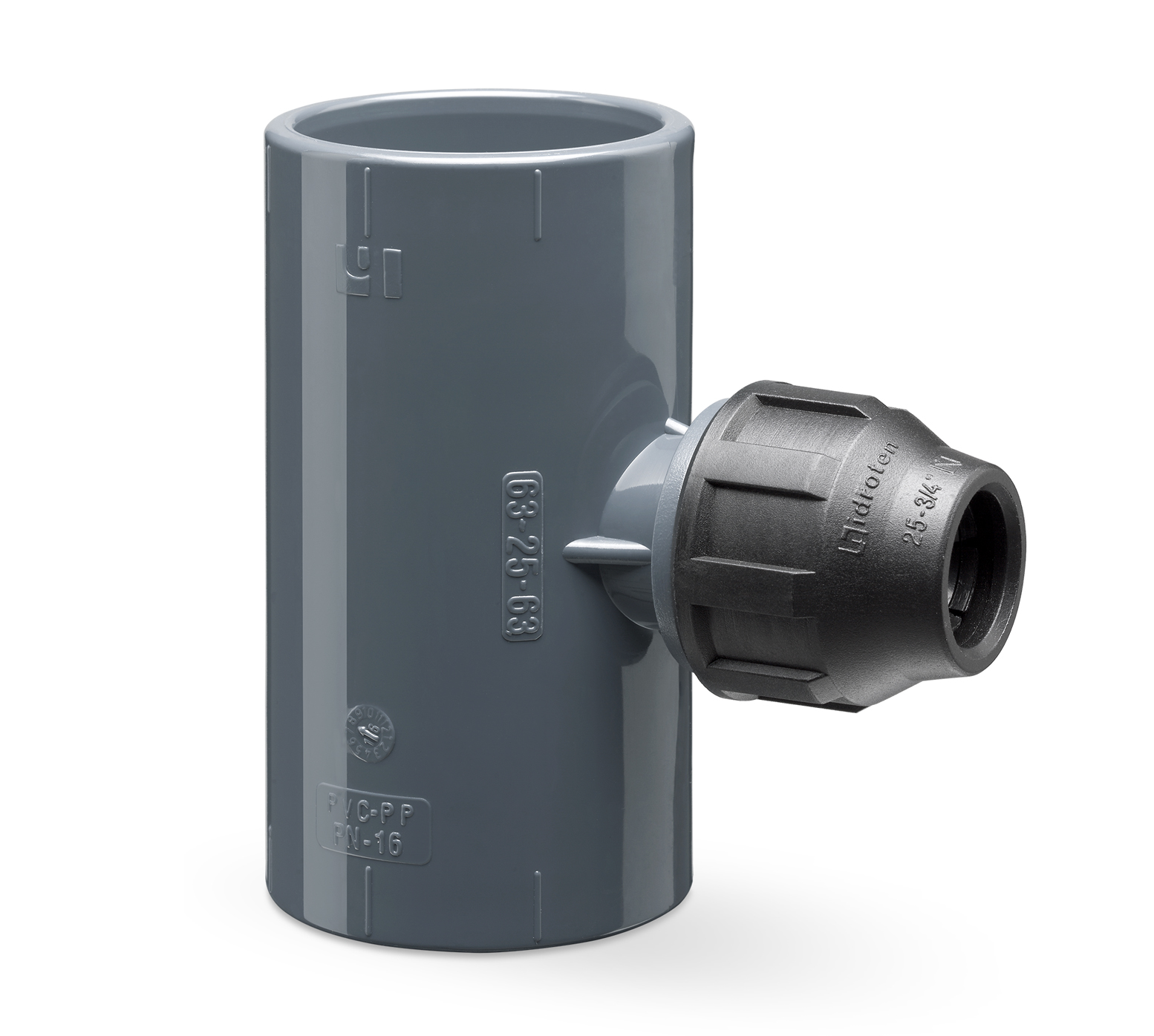 90º reducing tee compression fitting outlet