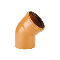 45° elbow male/female, elastic seal - PVC russet RAL 8023