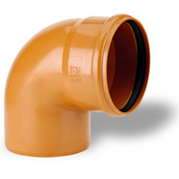 87°30 elbow male/female, Elastic seal- PVC russet RAL 8023