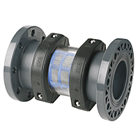 Line filter flanges outlet - screen sight glass