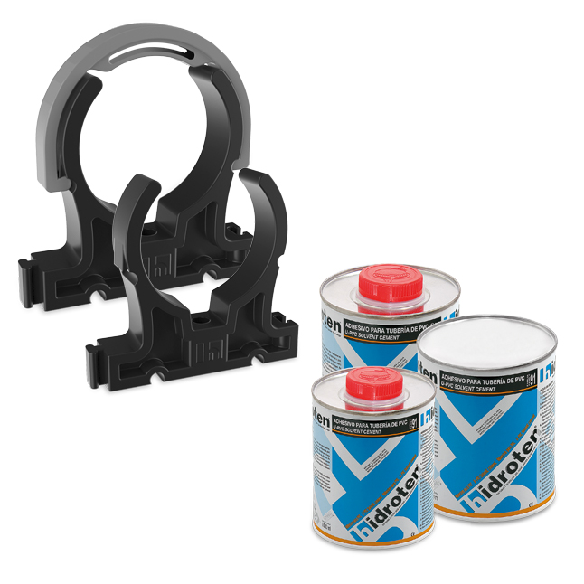 U-PVC solvent cement and cleaning fluid/Pipe clips