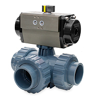 SOLVENT SOCKET OUTLET - DOUBLE ACTING PNEUMATIC ACTUATOR - PFTE