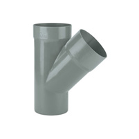 45° tee male - female solvent socket PVC RAL 7037
