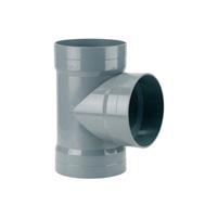87°30 tee female - female solvent socket PVC RAL 7037