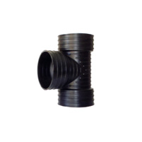 Female/Female 87°30 tee - black corrugated pipe