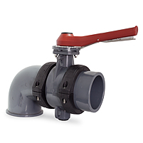 Netvitc System valve, plain threaded outlet, elbow connection