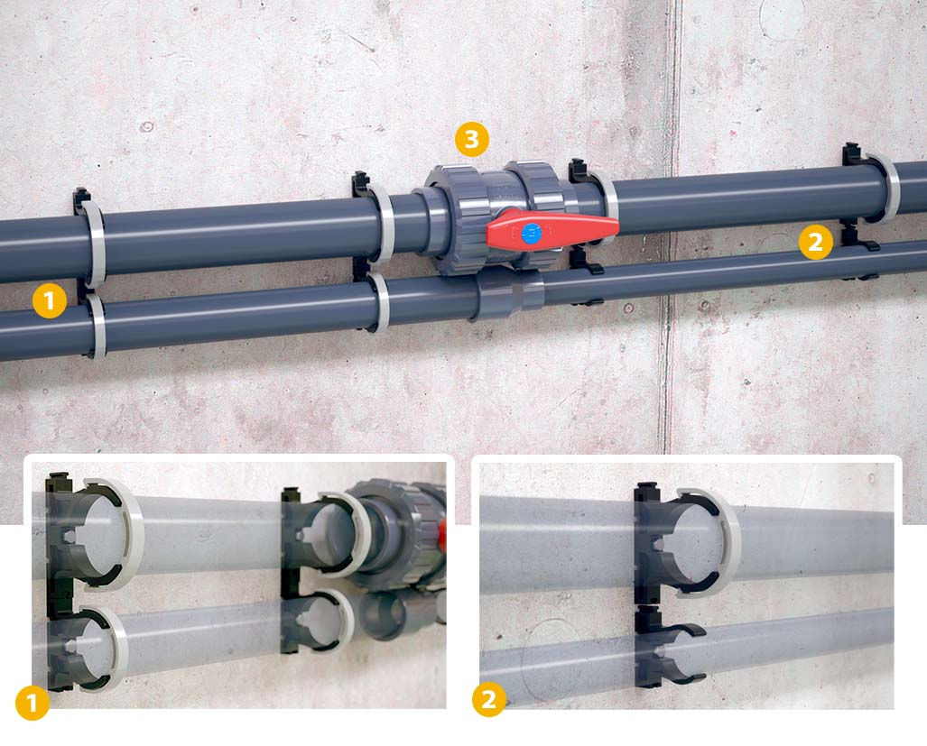 WHAT IS THE RECOMMENDED DISTANCE BETWEEN ZASPIN MECANIC PIPE CLIPS?