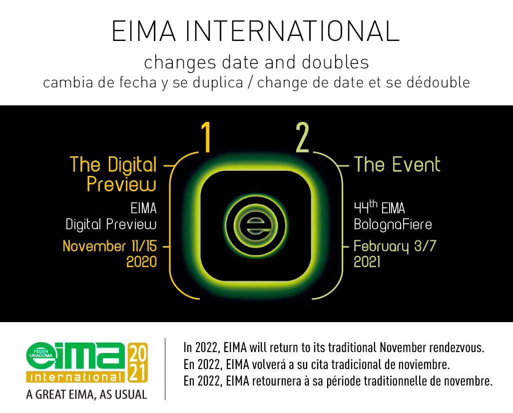 EIMA INTERNATIONAL, CHANGES DATE AND DOUBLES