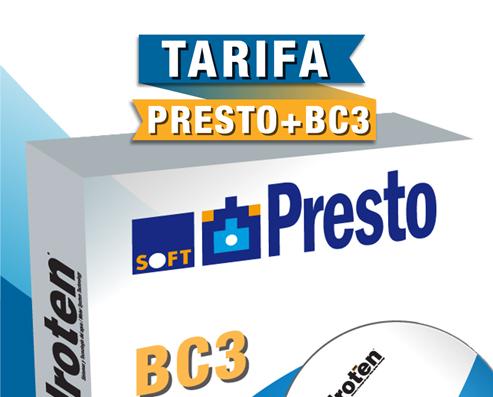 NUESTRA TARIFA 21 EN FORMATO PRESTO, BAK Y BC3