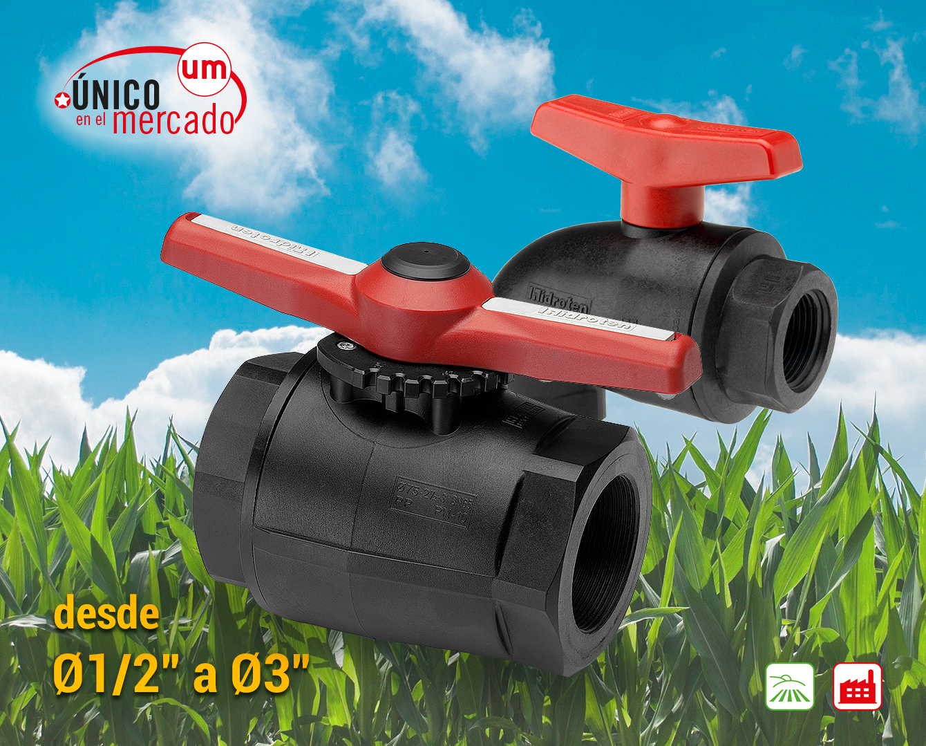"""COMPACT"" BALL VALVE, RECOMMENDED FOR AGRICULTURE"