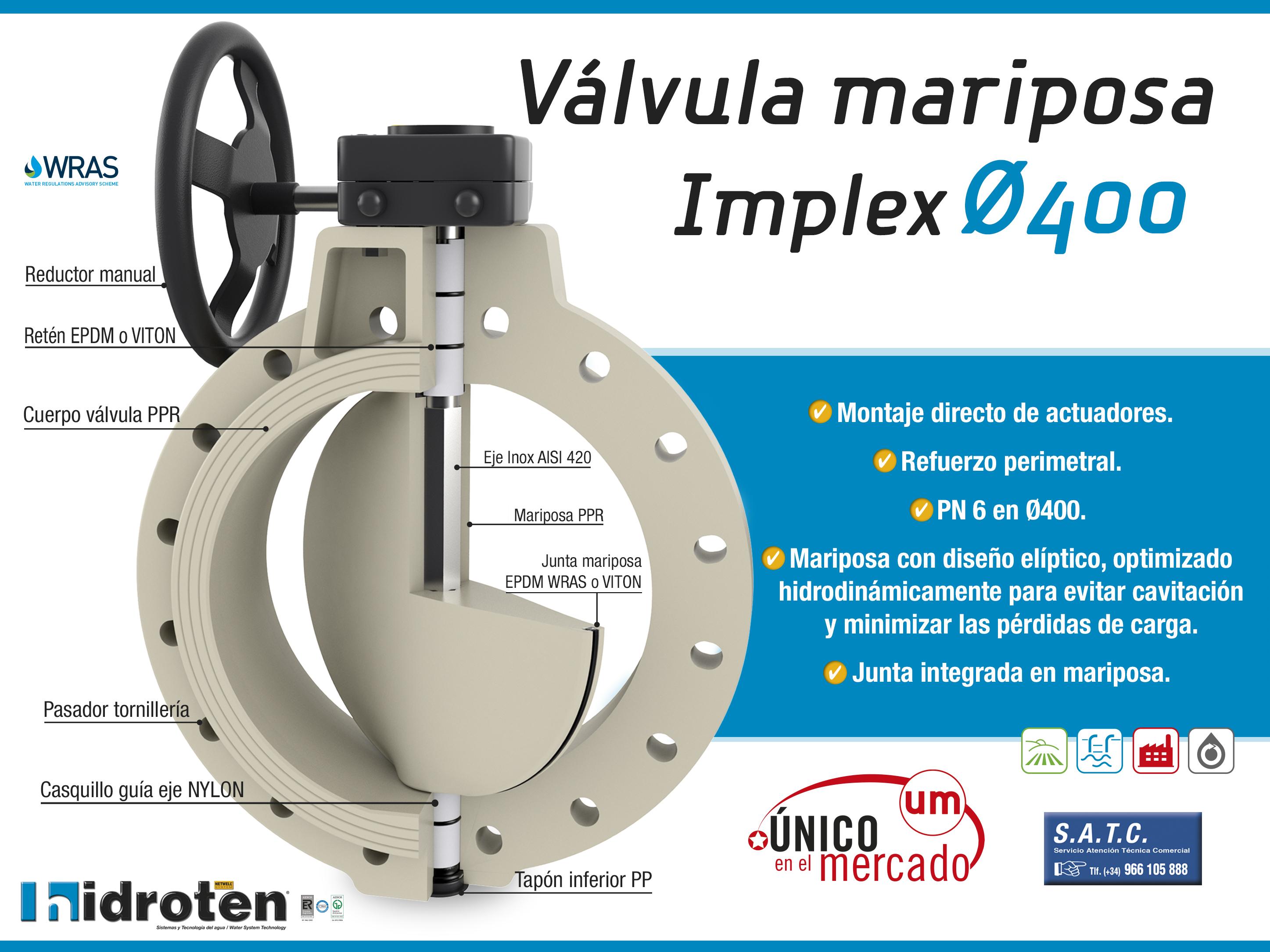 VÁLVULA DE MARIPOSA IMPLEX ø400.